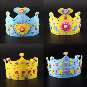 Cool 3D DIY Crown Princess Cap Party Supplies Children Birthday Party EVA Hat Decorations Kids Birthday DIY Hat Gift Toys Mix Order on Sale