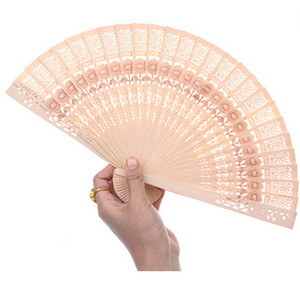 Wholesale New Arrival Lady Chinese Japanese Style Hollow Wooden Folding Bamboo Carved Hand Fan Pc