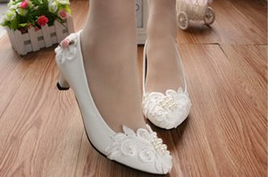 With low with new white bridesmaid shoes pearl soft bottom flat bridal shoes high-heeled dress shoes
