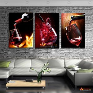 HD Canvas Prints 3 Piece Modern Kitchen Canvas Paintings Red Wine Cup Bottle Wall Art Oil Painting Bar Dinning Room Decor Pictures No Frame