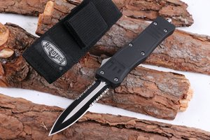 Wholesale HOT MICRO TECH A161 pocket folding knife Tactical Auto knives Double front teeth allumen handle camping combat knife knives cutting tools