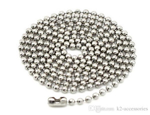 100pcs common Dog Tag Ball Chain Necklaces 2.4mm*60cm Bead ball stainless bead alloy chain free shipping