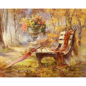 Wholesale Frameless Autumn Gardan Landscape DIY Digital Painting By Numbers Kits Hand Painted Modern Wall Art Canvas Painting For Artwork