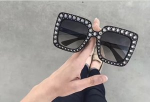 Wholesale Fashion Women Inspired S Black Plastic Sunglasses with Rhinestone square oversized Designer Sunglasses New with Box