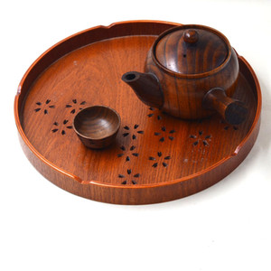 New Food Serving Trays Tea Food Oriental Vintage Food Tea Wooden Tray Serving Platter Plate Kitchen Gadget For Milk Pizza ZA3028
