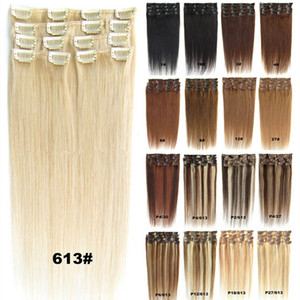 Wholesale hair clip extension resale online - Blond Black Brown Silky Straight Clip in Human Hair Extensions g g g Brazilian indian remy hair for Full Head
