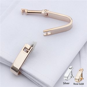 Wholesale Unique Design Plain Metal Triangle Shaped Rose Gold Silver Metal Cufflinks Button Cuff Fasten Jewelry Men