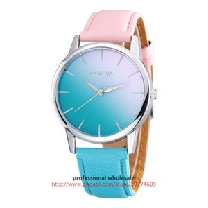Wholesale Hottest Style Women Watch Rainbow Pink Blue Leather Strap Watch Gradually Colorful Wristwatch For Woman