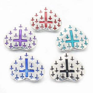 Wholesale Love Cross Heart Pattern Charms mm Snap Button For DIY Charms Bracelet bohemian Jesus Christ Snaps Lover crystal Jewelry