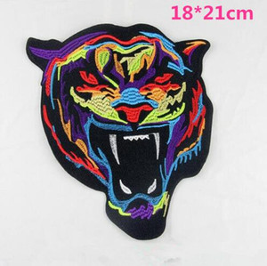 Wholesale Animal Embroidery Patch Tiger Head Embroidery Iron On Patch Badge Bag Applique Craft Clothes Accessories Iron on Patches for Clothes