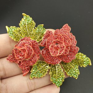 Wholesale gold red flower brooch for sale - Group buy 100PCS mm Gold Plated Rose Flower Brooches For Womrn Red Crystal Rhinestone Pin Brooch