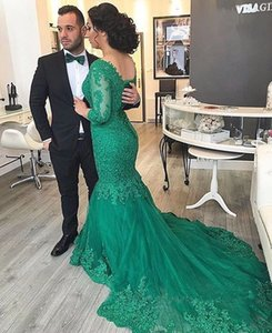 Elegant Green Mermaid Lace Evening Dresses V Neck Half Sleeve With Lace Up Back Applique Beads Long Tulle Sweep Train Formal Prom Gowns on Sale