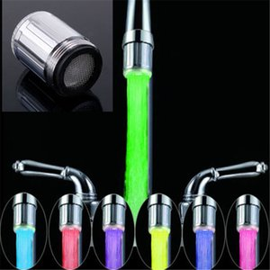 Wholesale- LED Water Faucet Stream Light 7 Colors Changing Glow Shower Tap Head Kitchen Temperature Sensor Tap TE Kitchen Accessories