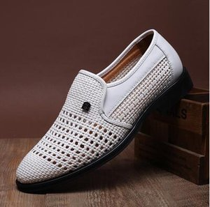 Wholesale NEW summer Latest Groom dress shoes Men s breathable Hollow out PU leather shoes for men s Hole hole leather sandals white black brown AX130