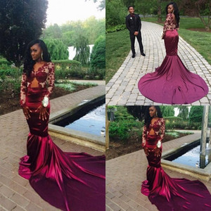 Vestidos 2018 Burgundy Mermaid Long Sleeves Prom Dresses Lace Appliqued Satin Sweep Train Prom Dresses Party Evening Gowns on Sale