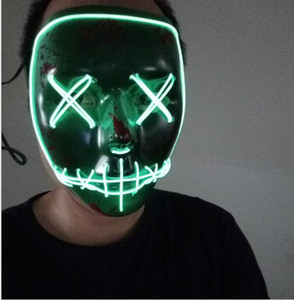Wholesale New Led Halloween Ghost Masks The Purge Election Year Mask EL Wire Glowing Mask Neon Models Flashing Party Scarey Horror Terror Skull Mask