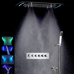 Wholesale New Design mm multifunction rain bathroom shower faucet set Led ceiling shower heads thermostatic Spray bath with hand shower