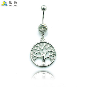 Wholesale tree rings resale online - Special style Metal Surgical Steel Fashion Silver Tree Belly Button Rings For Women Body Piecing Jewelry