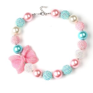 Wholesale Beautiful Chunky Bubblegum Bead Necklace Ribbon Tie Candy Color Beads Chain Chunky Bib Necklace Statement Choker Girl s Kids Bubblegum HJ104