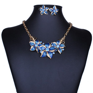 Free shipping Jewelry Sets Necklace Earrings Crystal Enamel Flower African Maxi Statement Jewelry Wedding Bridal Pendant Dress Accessories