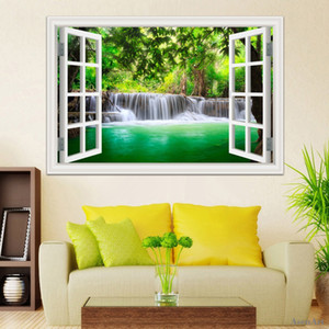 3d Window View Decals Waterfall Scenery Landscape Wallpaper Wall Mural Stickers PVC Vinyl Sticker Home Decoration