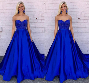Elegant Sweetheart Neck Long Prom Dresses Royal Blue Beaded Zipper up Back Formal Evening Party Dresses Vestido De Fiesta Birthday Dresses on Sale
