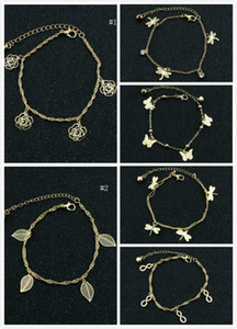 Wholesale Delicated Rose Dragonfly Butterfly Women Anklets Gold Tone Layer Hollow Out Ankle Bracelets Foot Chain Barefoot Sandals Womens Jewelry