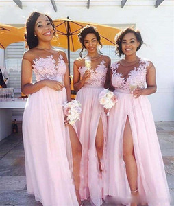Wholesale Pink Plus Size Country Bridesmaid Dress Illusion Long Chiffon Vintage Lace Cap Sleeves Split Maid of Honor Gowns