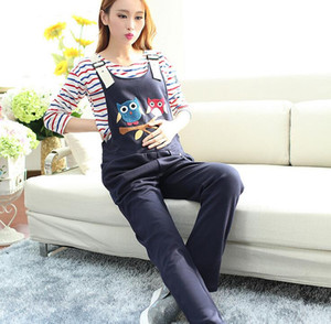 Wholesale 2016 Summer Maternity Overalls Pregnancy Jumpsuits Rompers Pregnant Women Cartoon Causal Suspender Bib Pants Plus Size Clothes