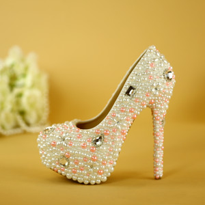 Wholesale 100 Handmade Wedding Shoes Women s High Heels shoes rhinestone pearl Diamond bride shoes Woman Platform Party Shoe pumps