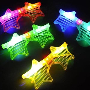 Wholesale 15 cm The shutters five pointed star shine glasses Bar fluorescence party LED luminous Christmas decoration