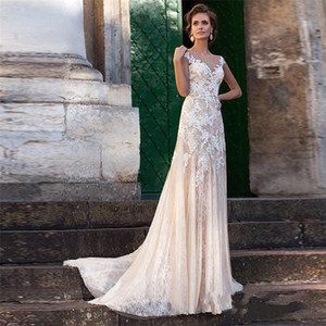 Lace Wedding Dress 2020 Illusion Neckline Appliques Vintage Bridal Gowns Robe De Mariage Sheath Wedding Dresses Sheer Back Vestido