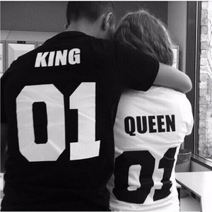 Wholesale New KING QUEEN Funny Letter Print T Shirt Women Men Tops Hipster Summer Style t shirt Tees Couple Plus Size