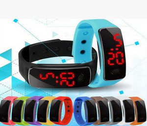 Wholesale 2016 New Fashion Sport LED Touch Screen Digital Watch Candy Jelly Silicone Rubber Bracelet Watches Men Women Unisex Sports Wristwatch