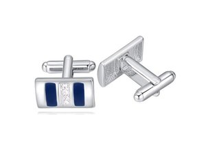 2017 High Quality Promotion Jewelry Fashion Men's Brand Austria Crystal Shirt Cuff Links Platinum Plated 3 Colors on Sale