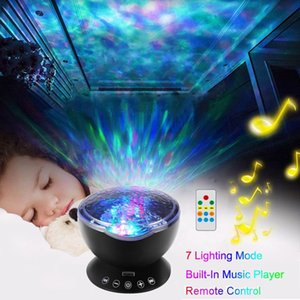 Wholesale Newest Remote Control Ocean Wave Projector Light LED Colors Night Light with Built in Mini Music Player for Living Room and Bedroom