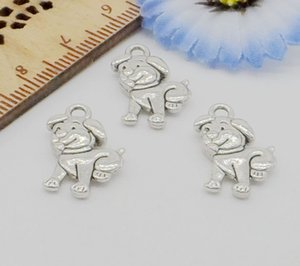 Wholesale 200pcs Metal Zinc Alloy Cute Dog Charms Antique Silver for DIY Jewelry Pendant Charms Making Finding x12mm