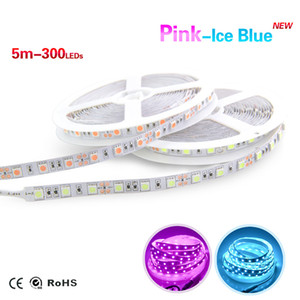 Wholesale SMD 5050 PinK Ice Blue Color Led Strip 5M 300LEDs DC12V Flexible Light Tape With DC Plug Lamp For Car and Home lighting