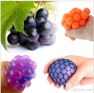 Wholesale 5cm Cute Anti Stress Face Reliever Grape Ball Autism Mood Squeeze Relief Healthy Toy Funny Gadget Vent Decompression toys