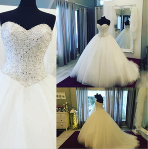 Wholesale Real Pictures Elegant Wedding Dresses New Arrival Crystals Pearls Beaded High Quality Bridal Gowns Including Gloves Veil