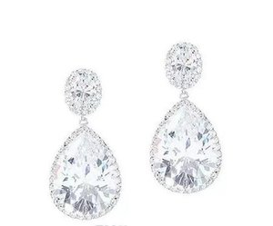 birnenohrringe großhandel-10 CT PEAR OVAL HALO Wasser Diamant Ohrring SOLID K Gold PARTY WEAR EARRING