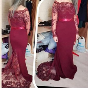 Wholesale Elegant Burgundy Plus Size Mother Of The Bride Dresses With Sleeves Appliques Plus Size Wedding Guest Dress Cheap Formal Evening Gowns