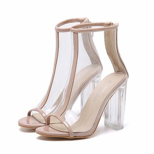 Wholesale Fashion crystal transparent shoes thick high heels peep toe PVC ankle bootie women prom party wear size to