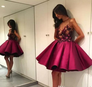 2017 Short Prom Dresses Burgundy See-Through Bodice Flowers Pleats A Line Puffy Mini Cocktail Dresses Evening Party Dresses Robe De Soiree on Sale