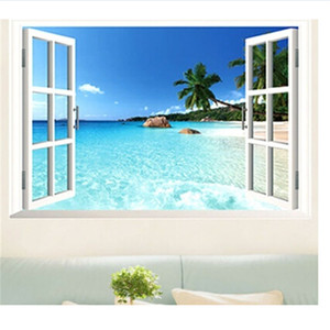 Wholesale cm D Window Wallpapers PVC Removable Classic Blue Beach Wall paper Decorative DP128