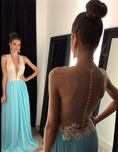 A-Line Plunging V Neck Chiffon Prom Dress New Arrival Open Back 2016 Evening Gown Formal Occasion Gowns Party Gowns on Sale