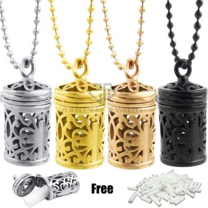 Wholesale Hollow Out Barrel Cross Desgin Aromatherapy Perfume Necklace Essential Oil Locket Pendant Necklaces With Free Steel Color Ball Chain