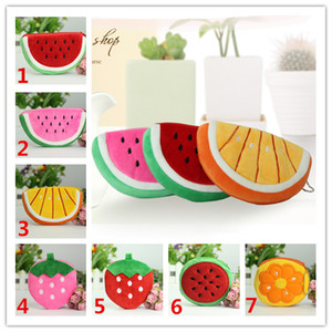 2017 shipping free 10pcs Wholesale Fluff Fruit Coin Purses & Wallet Pouch Case Watermelon Orange BAG Bags Cartoon Handbag for children gifts on Sale