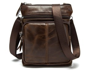New men high quality Genuine leather zipper single shoulder messenger bag male fashion casual purse job bag black coffee brown and so on on Sale