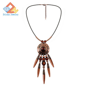 Trendy African Beads Jewelry Latest Exquisite Pendant Necklace Leather Rope Tassel Necklace Wholesale Fashion Jewelry